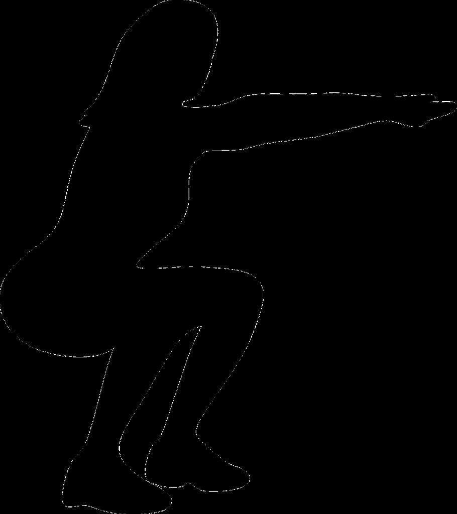 Haltung einer Hocke ohne Hanteln